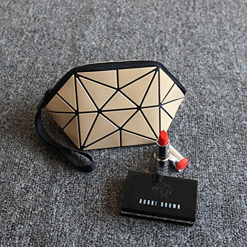Aoligei Motif géométrique de la sac cosmétique demi-cercle PVC cosmétique de pian Ling sac G