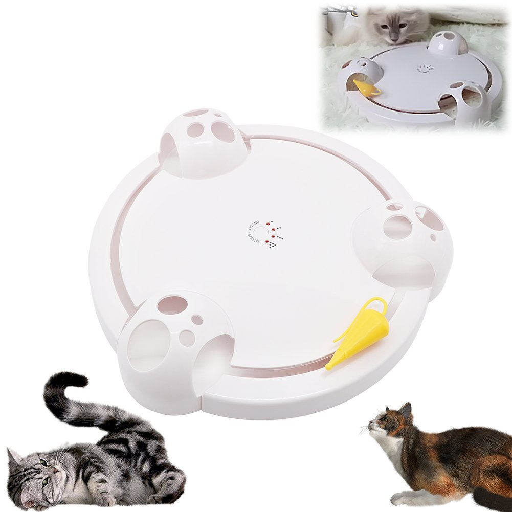 AUOON Pounce Cat Toys Interactive,Automatic Cat Scratch Mouse Game Disc Cat Toys Joy Disc Mouse Turntable Cat Scratch Board Electric Amusement Plate,Interactive Cat Toys for Indoor Cats