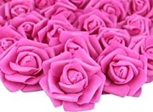Lightingsky 3 x 1.6 x 3 inches DIY Real Touch 3D Artificial Foam Rose Head Without Stem for Wedding Party Home Decoration (100pcs, Rose)
