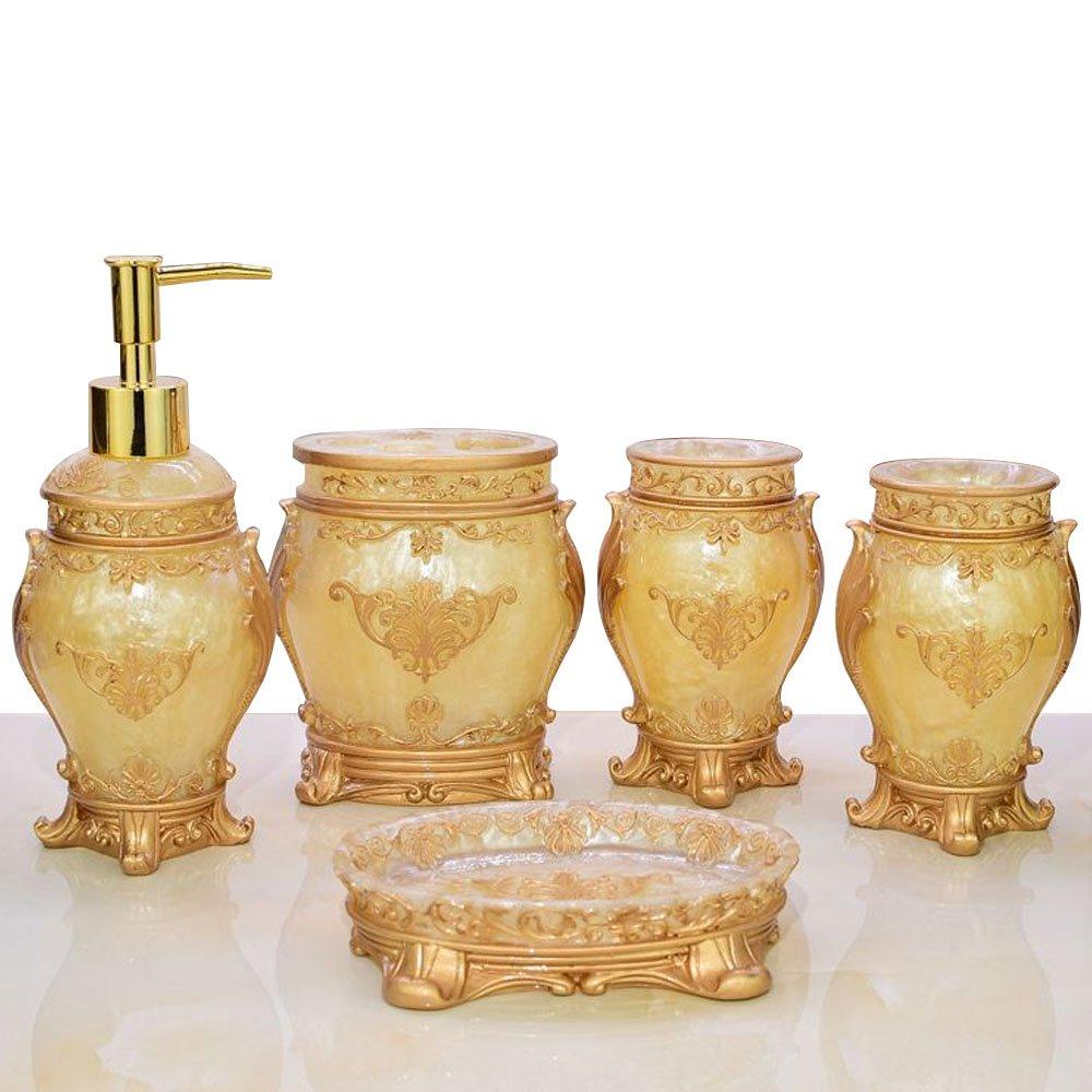 LUANT 5pcs Bathroom Accessories Set, Soap Dispenser, Toothbrush Holder, Bathroom Tumbler, Soap Dish-Golden