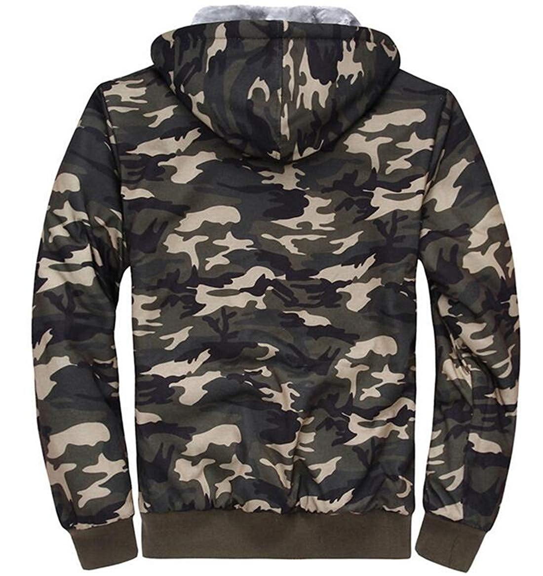 X-Future Men Coat Hooded Zip Front Fleece Lined Outwear Camo Print Sweatshirt
