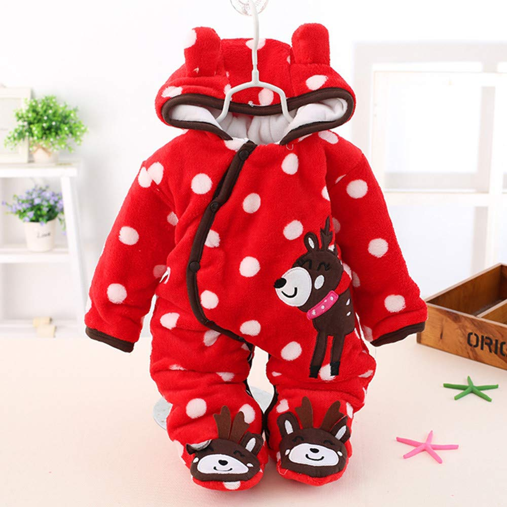 KONFA Toddler Newborn Baby Boys Girls Winter Warm Clothes,Cartoon Fawn Hooded Long Sleeve Rompers Jumpsuit Set