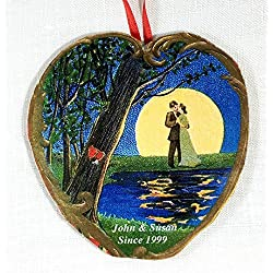 Romantic Valentine Couple Personalized Ornament, Handcrafted Wood, Antique Postcard, Romantic Card Wedding Engagement Favor Gift Card Husband Wife Valentine