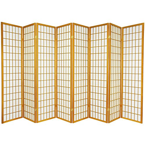 Oriental Furniture 6 ft. Tall Window Pane Shoji Screen - Honey - 8 Panels