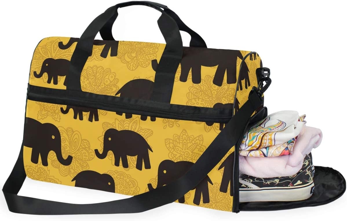 Floral And Elephants Sports Gym Bag with Shoes Compartment Travel Duffel Bag for Men and Women