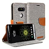 LG G5 Case, GMYLE Wallet Case Classic for LG G5 - Aluminium Grey & Brown PU Leather Slim Stand Case Cover