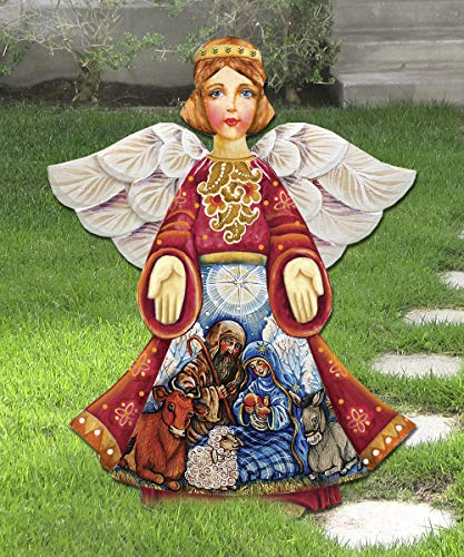 Outdoor Nativity Scene, OUTDOOR NATIVITY ANGEL Wooden Hanging/Freestanding Figurine - Large Nativity Ornament - Nativity Yard Art #8152722M