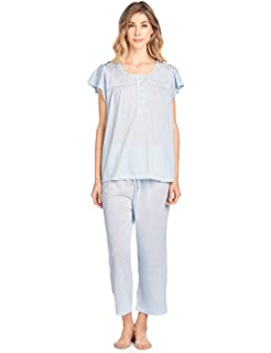 4c87263e69d Casual Nights Lace Trim Women's Short Sleeve Capri Pajama Set at ...