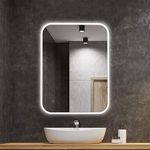 BV 24 x 32 Horizontal Vertical Dimmable LED Bathroom Vanity Mirror Wall Makeup Mirror with Light