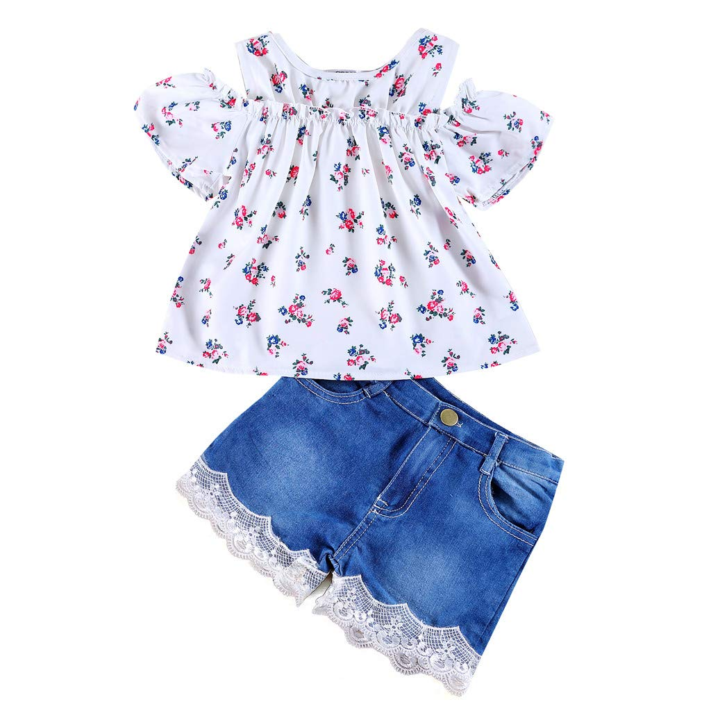 68e882934a5c9 Amazon.com: Toddler Baby Girls Off Shoulder Floral Print Shirt Crop Ruffle Tops  Clothes + Denim Short Pants Outfits Cute Swiusd Clothes: Clothing
