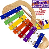 Xylophone for Children - 15 Color-Coded Song Sheet Music E-book for this Glockenspiel