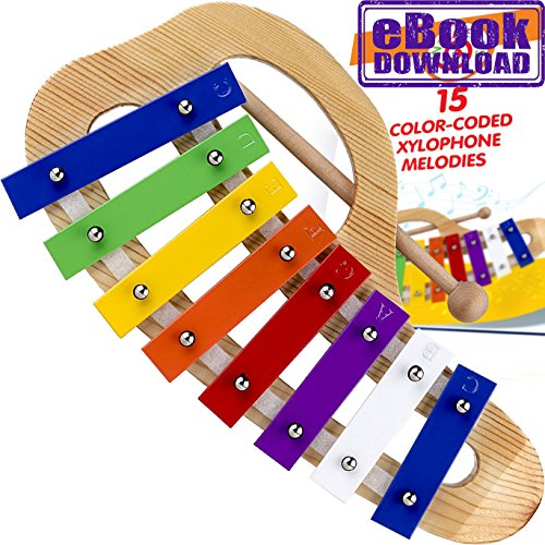 Xylophone for Children - 15 Color-Coded Song Sheet Music E-book for this Glockenspiel by inTemenos