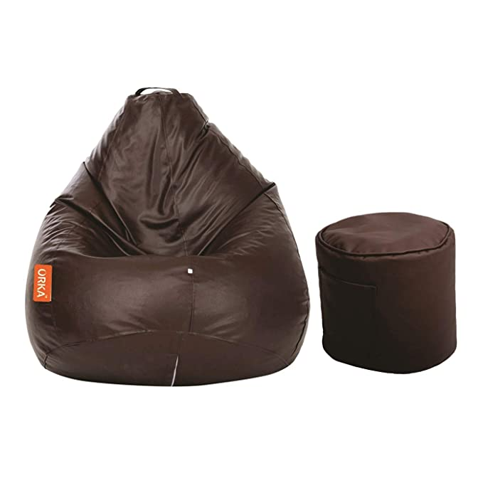 ORKA Classic XXL with Footstool Bean Bag Cover Without Beans   Brown Bean Bag Covers