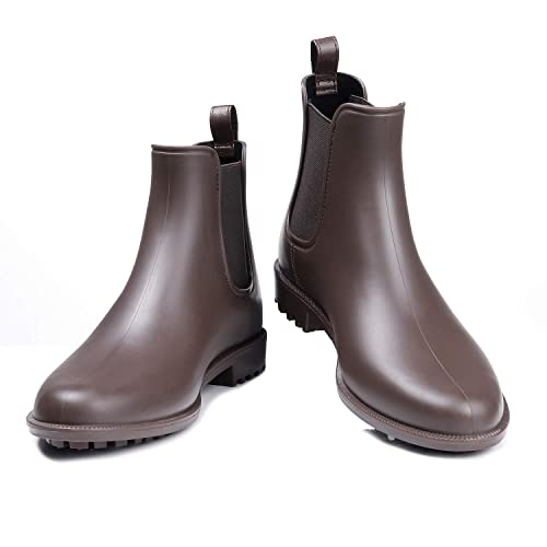 3e1f519591 Litfun Women's Waterproof Ankle Rain Boots - Brown Matte Short Rain Boot  Chelsea Boots Elastic Rain