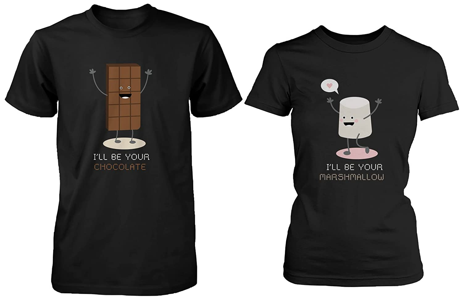 26dfd1e68e 100% Cotton Made in USA and Imported Cute Couple Shirts for Him & Her -  I\'ll Be Your Chocolate and Marshmallow Enzymed washed lightweight material