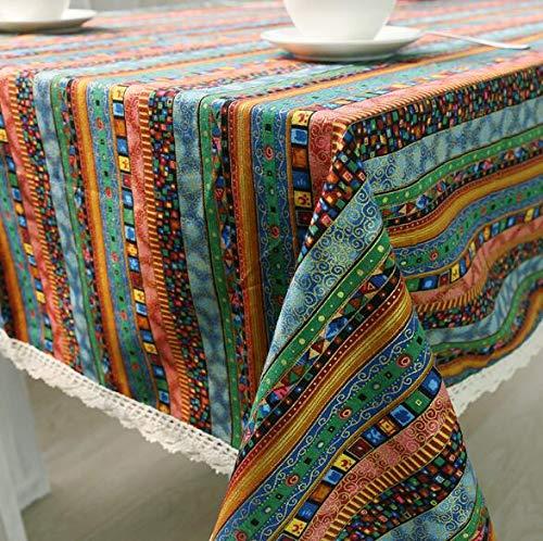 LYJZH Mantel de algodón y Lino Viento Nacional Ola similan Lino Mantel Comida Cubierta Toalla Rayas Azules 140 * 200 cm