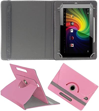 Acm Rotating Leather Flip Case Compatible with Micromax Funbook P255 Cover Stand Light Pink Bags,Cases   Sleeves