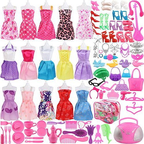 SOTOGO 106 Pcs Barbie Doll Clothes Set Include 15 Pack Barbie Clothes Party Grown Outfits and Randomly 90 Pcs Different Barbie Doll Accessories - The Great Gift for Little - Barbie Dolls Accessories