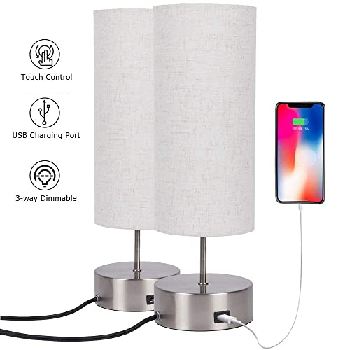 Touch Control Table Lamp Bedside with USB Charging Port,3 Way Dimmable Touch Lamps with Sand Nickel Base and Cylindrical Linen Lampshade for Bedroom Living Room Office 2packs