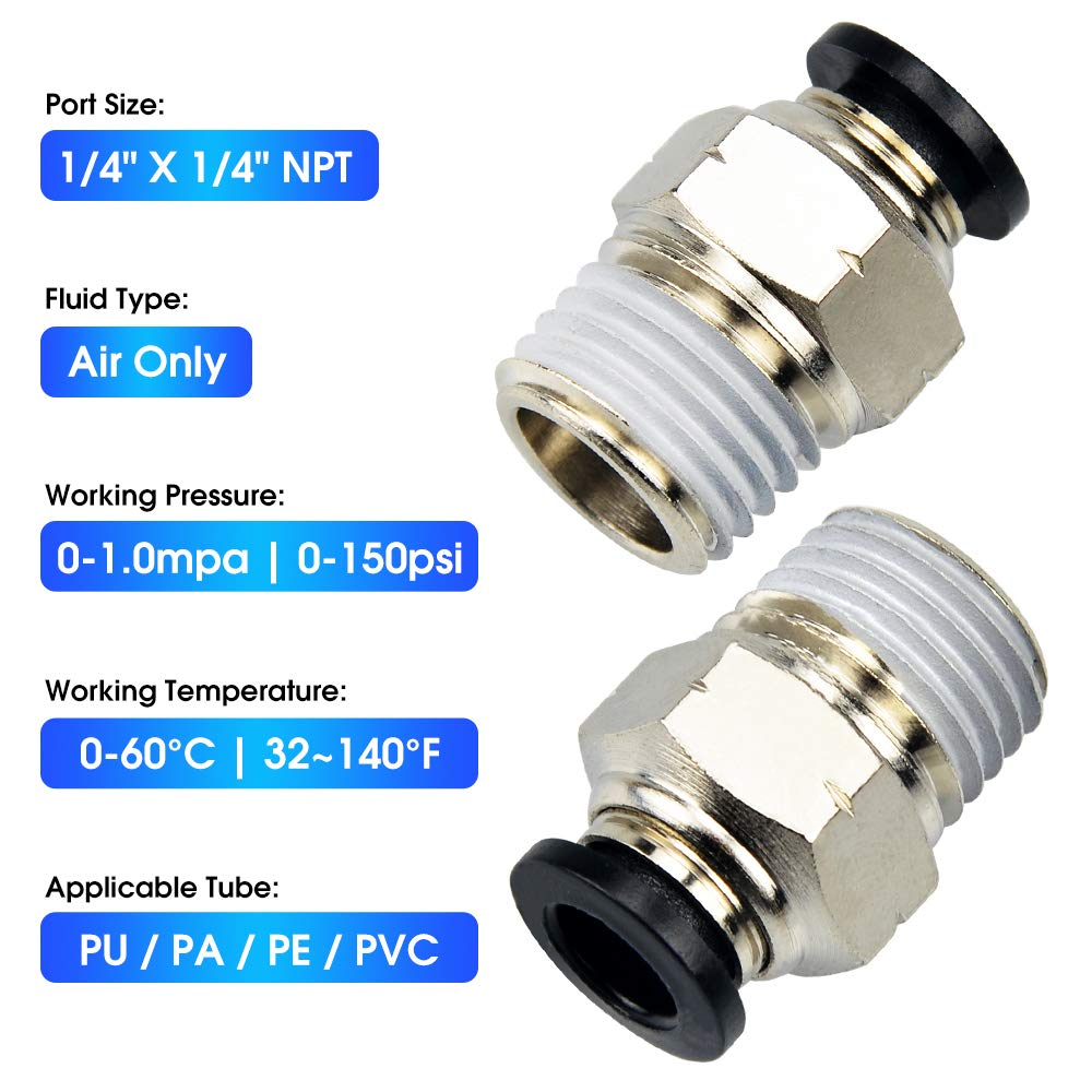 Tailonz Pneumatic Ellow Straight 1//4 Inch Tube OD x 1//8 Inch NPT Thread Push to Connect Fittings Copper Nickel Plating PL-1//4-N1 Pack of 5