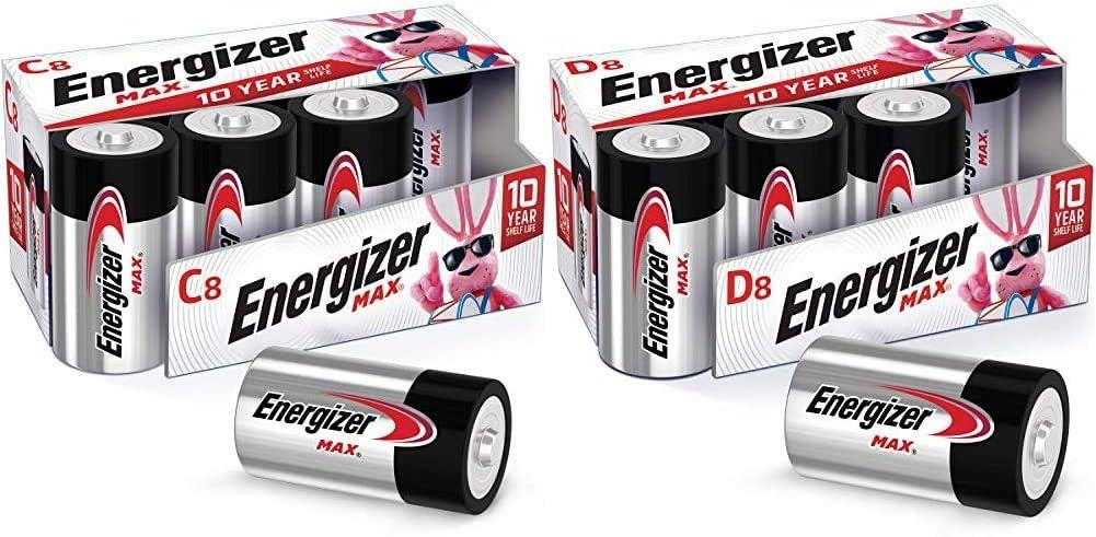 Energizer MAX C Batteries & D Batteries Combo Pack, 8 C and 8 D Batteries (16 Count)