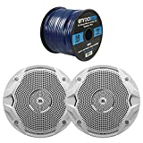 2 X New JBL MS6510 6.5'' 150 Watts Marine Boat Yacht Outdoor Waterproof Stereo Audio Speakers System with 50 Ft. Marine Speaker Wire Bundle - Great Marine Speakers Kit (2)