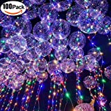 100 PCS 18'' LED String Light Ballons with 30 LEDs 3m for Birthday Wedding Christmas Decoration Party Supplies (Flickering)