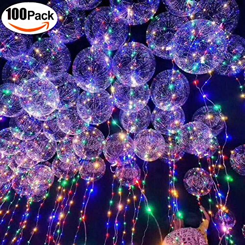 100 PCS 18'' LED String Light Ballons with 30 LEDs 3m for Birthday Wedding Christmas Decoration Party Supplies (Flickering) by QTMY