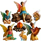 (US) Mood Lab Fairy Garden Fairies - Miniature Figurines Accessories - Camping Fun Set of 8 pcs - Hand Painted Kit for Outdoor or House Decor