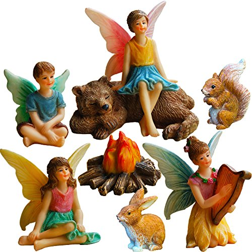 Garden Set Fairy (Mood Lab Fairy Garden Fairies - Miniature Figurines Accessories - Camping Fun Set of 8 pcs - Hand Painted Kit for Outdoor or House Decor)