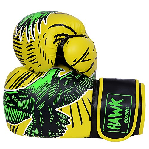 Hawk Boxing Gloves for Men & Women Pro Kickboxing Gloves Sparring Heavy Bag Training Gloves Mitts MMA Muay Thai Kick Boxing