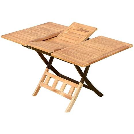 Tavolo Da Giardino Pieghevole E Allungabile.Sas Teak Tavolo Allungabile 100 140 X 80 Cm Pieghevole Da Tavolo