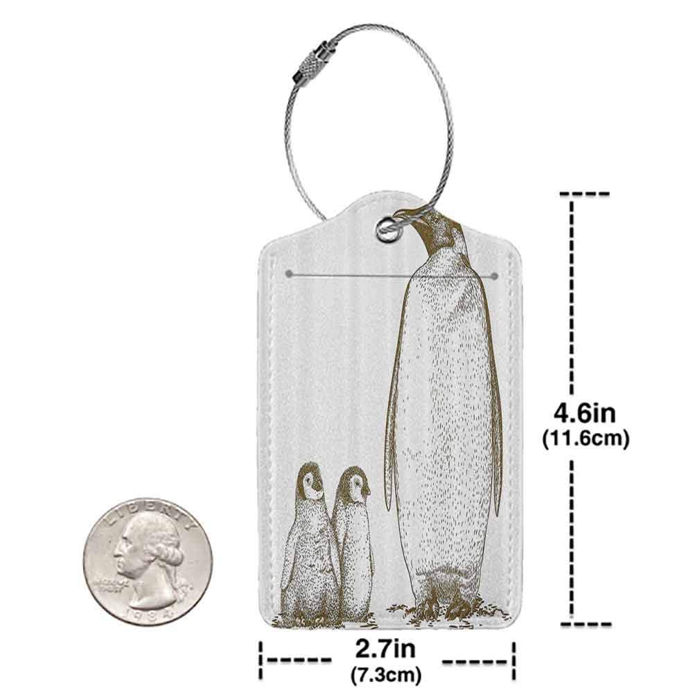 Modern luggage tag Sea Animals Engraving Antique Illustration King Penguin and Baby Penguins Nestling Nature Suitable for children and adults Olive Green W2.7 x L4.6