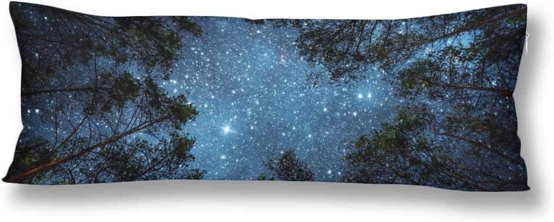 CiCiDi Seitenschl/äferkissen Kissen-Bezug 40x145 cm Nachthimmel Milchstra/ßen Baum Wald mit sternenklarem Himmel Atmungsaktives Kissenh/üllen mit Rei/ßverschluss Baumwollen und Polyester