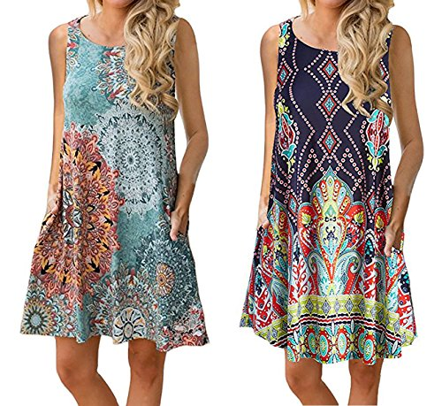 YeeATZ Women's Summer Casual Sleeveless Floral Printed Swing Dress Sundress with Pockets Flower Print ()