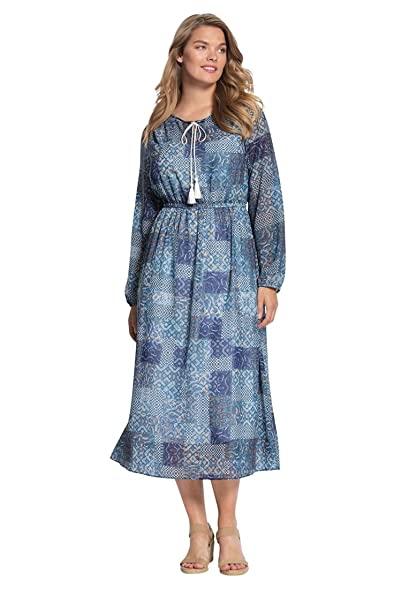 Bargain Catalog Outlet Woman Within Plus Size Peasant Dress With
