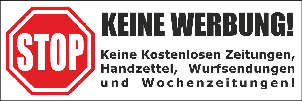5 wei/ße Briefkastenaufkleber 105x35 mm- Keine kostenlosen Zeitungen Keine Werbung Wurfsendungen und Wochenzeitungen! Handzettel