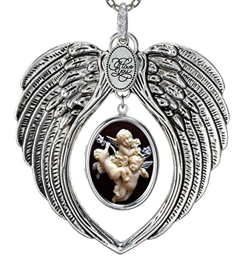 Angel Wings Locket I Love You Charm Necklace Photo Pendant Fashion Jewelry 2 Chain Pouch for Gift (Cherub)