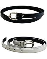 Krystle Women's|Girl's PU leather belts Pack of 2 combo (Black & White)