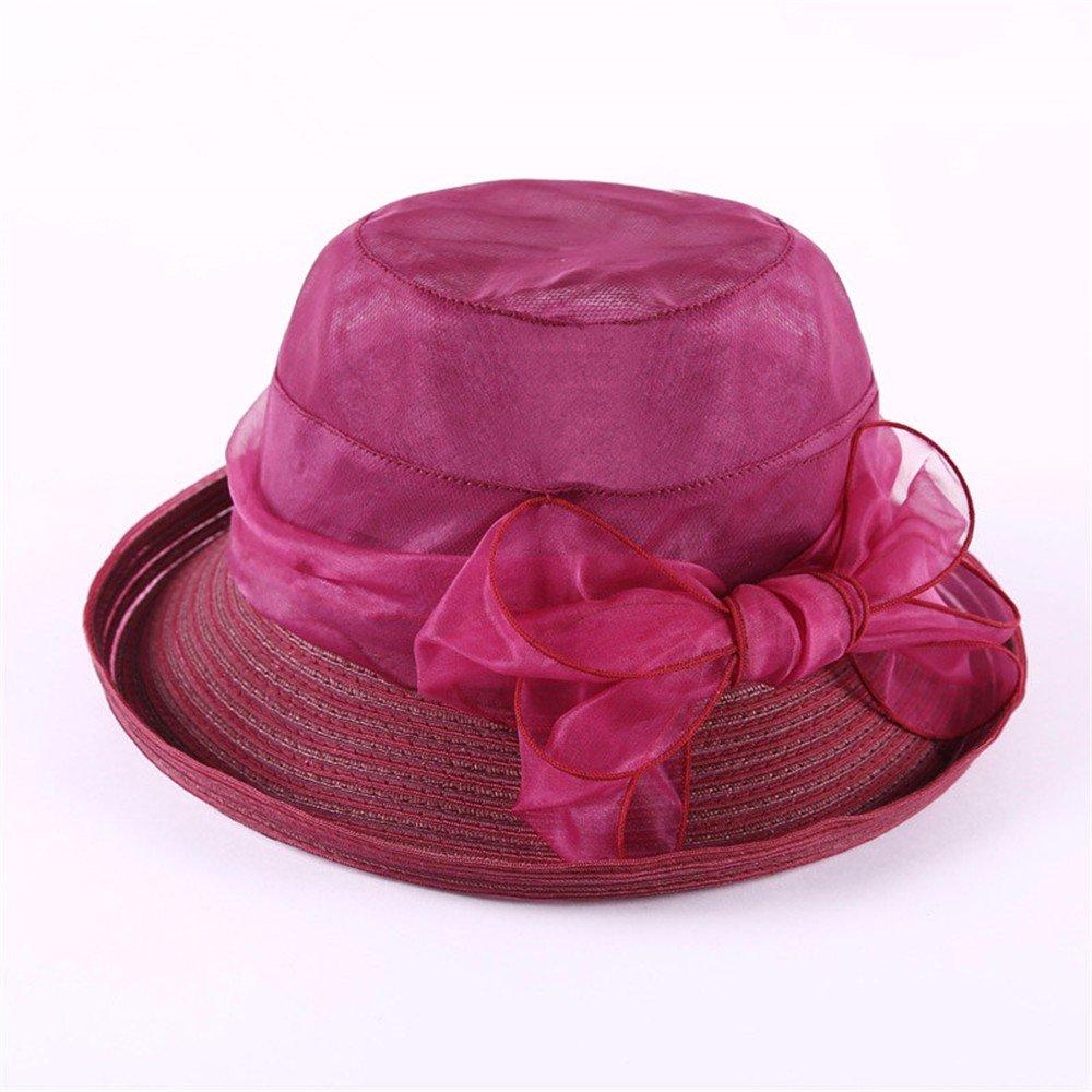 E  YMFIE Ladies' Prougeection UV Pliage d'été plage Hat de plein air Tourist Holiday Parasol Hat Chapeau de Soleil en Soie