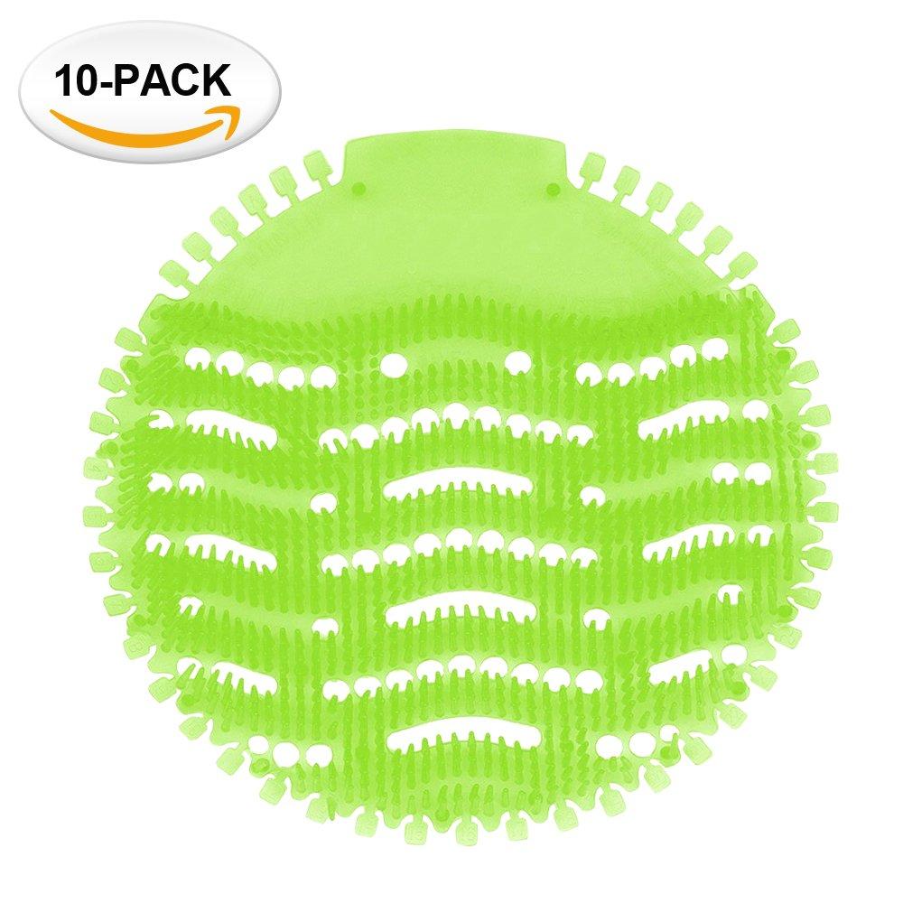Urinal Screens Deodorizer Anti Splash Technology - Fits Most Top Urinal Brands at Restaurants, Office Building, Home, Schools, etc. (10-Pack, Green - Melon)
