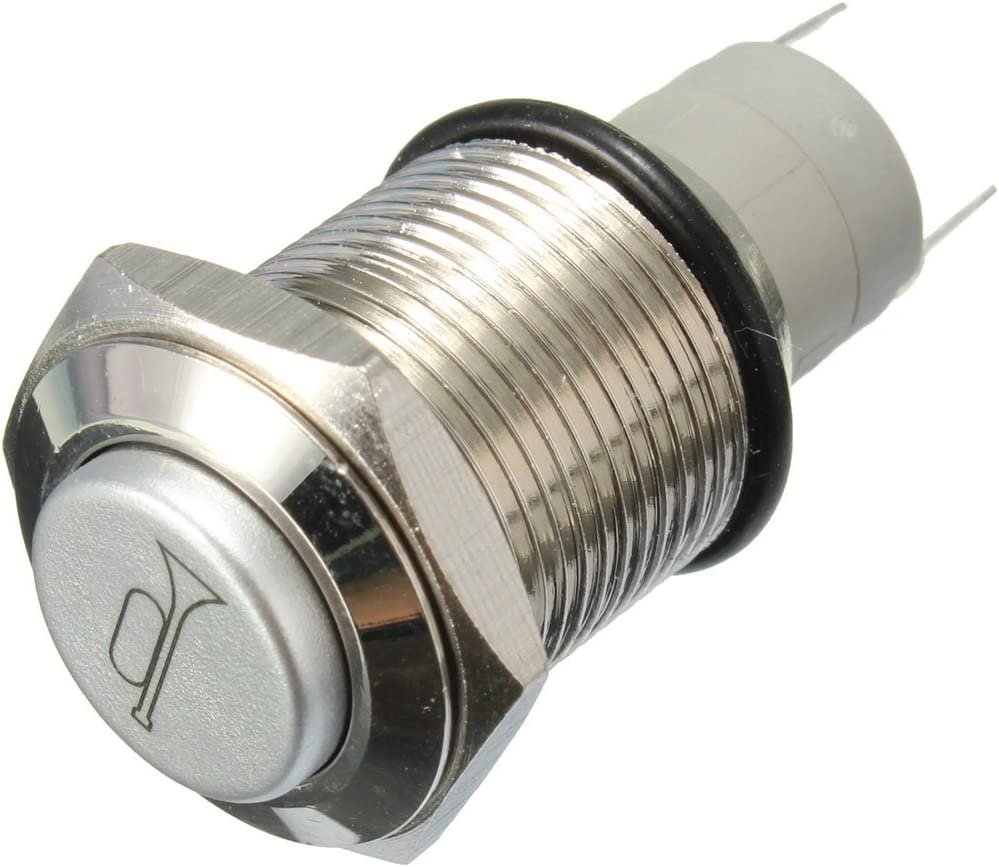 inkl. Gelenke 12 V 16 mm blaue LED Momentary Druckknopf Metall Schalter Auto Boot Lautsprecher Glocken Horn