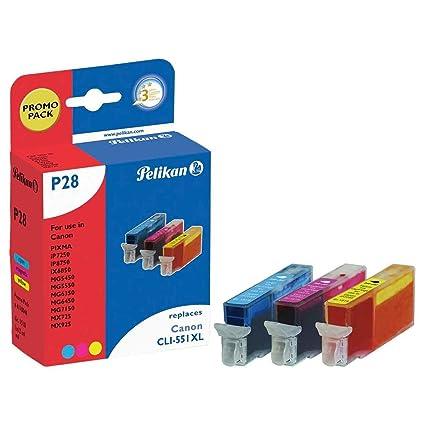Pelikan P28 CMY cartucho de tinta Cian, Magenta, Amarillo 12 ml - Cartucho de tinta para impresoras (Tinta a base de pigmentos, Cian, Magenta, ...