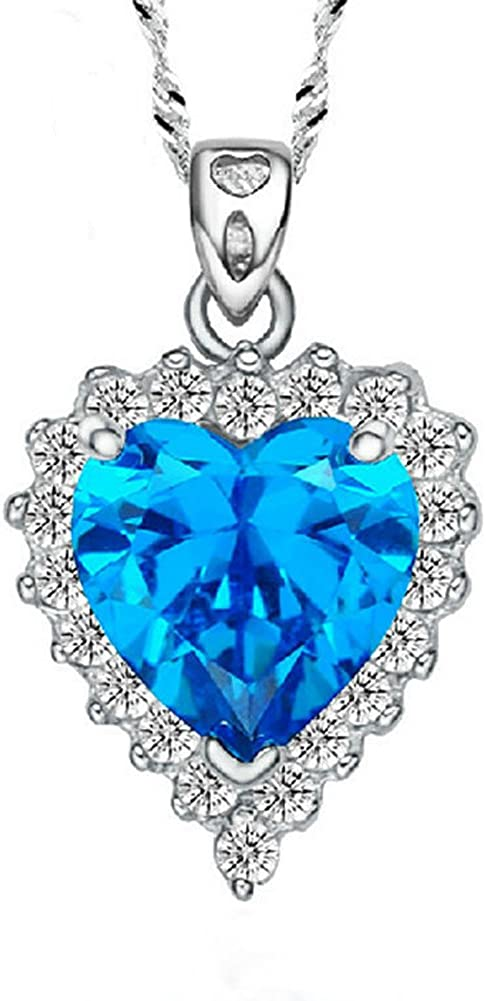 Jade Angel Plata de Ley de Creado Azul Topacio Colgante de 45,72 cm Collar de Cadena
