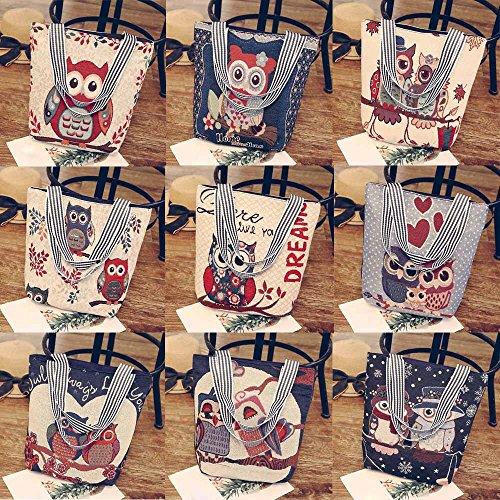 Bag Canvas F Satchels Totes Cartoon Hosamtel Bag Handbag Shoulder Owl Women Printing ZSxOBB