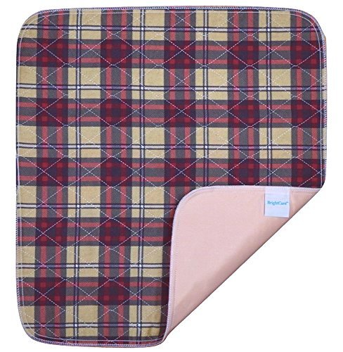 Ultra Waterproof Washable Seat Pad (20 x 22in) For Incontinence - Seniors, Adult, Children, or Pet Underpad Protection - Triple Layer Chair Cover Protector, 24 ounce Absorbency (Plaid) by BrightCare