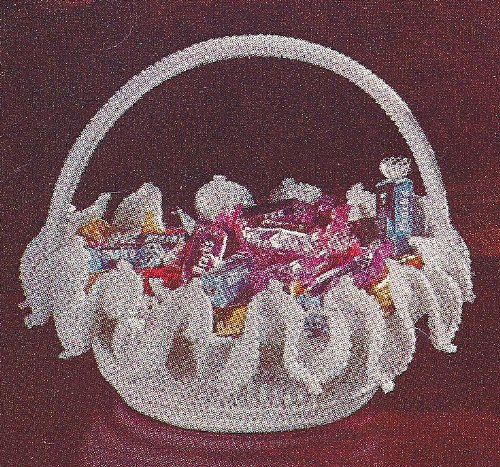 """Vintage Crochet PATTERN to make - """"Milk Glass"""" Candy Dish Basket Decor. NOT a finished item. This is a pattern and/or instructions to make the item only."""