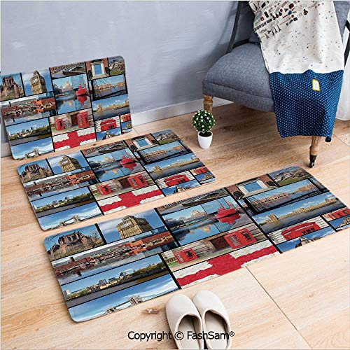 FashSam 3 Piece Non Slip Flannel Door Mat England City Red Telephone Booth Clock Tower Bridge River British Flag with Flowers Indoor Carpet for Bath Kitchen(W15.7xL23.6 by W19.6xL31.5 by W15.7xL39.4) ()