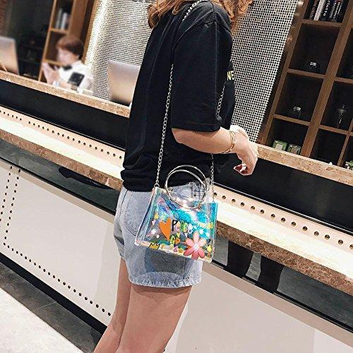 UEB Sac Rose PVC Anneau Main Transparent Messenger Chaîne Femmes Bandoulière Chic Clair Casual Impression Sacs Magnifique à rxfwqgr