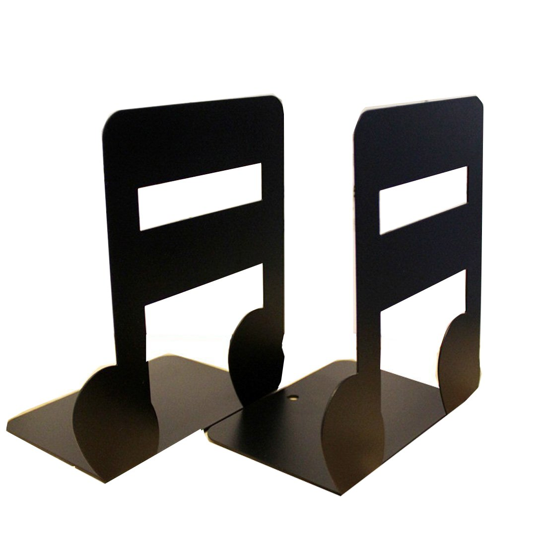 1 Pair of Fashion Music High Note Nonskid Library School Office Home Study Kitchen Metal Art Bookends Book End Decoration Birthday Christmas Gift Ideal (High Note Black) FaithYoo
